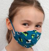 Stoffmaske für Kinder und Erwachsene, Dino petrol