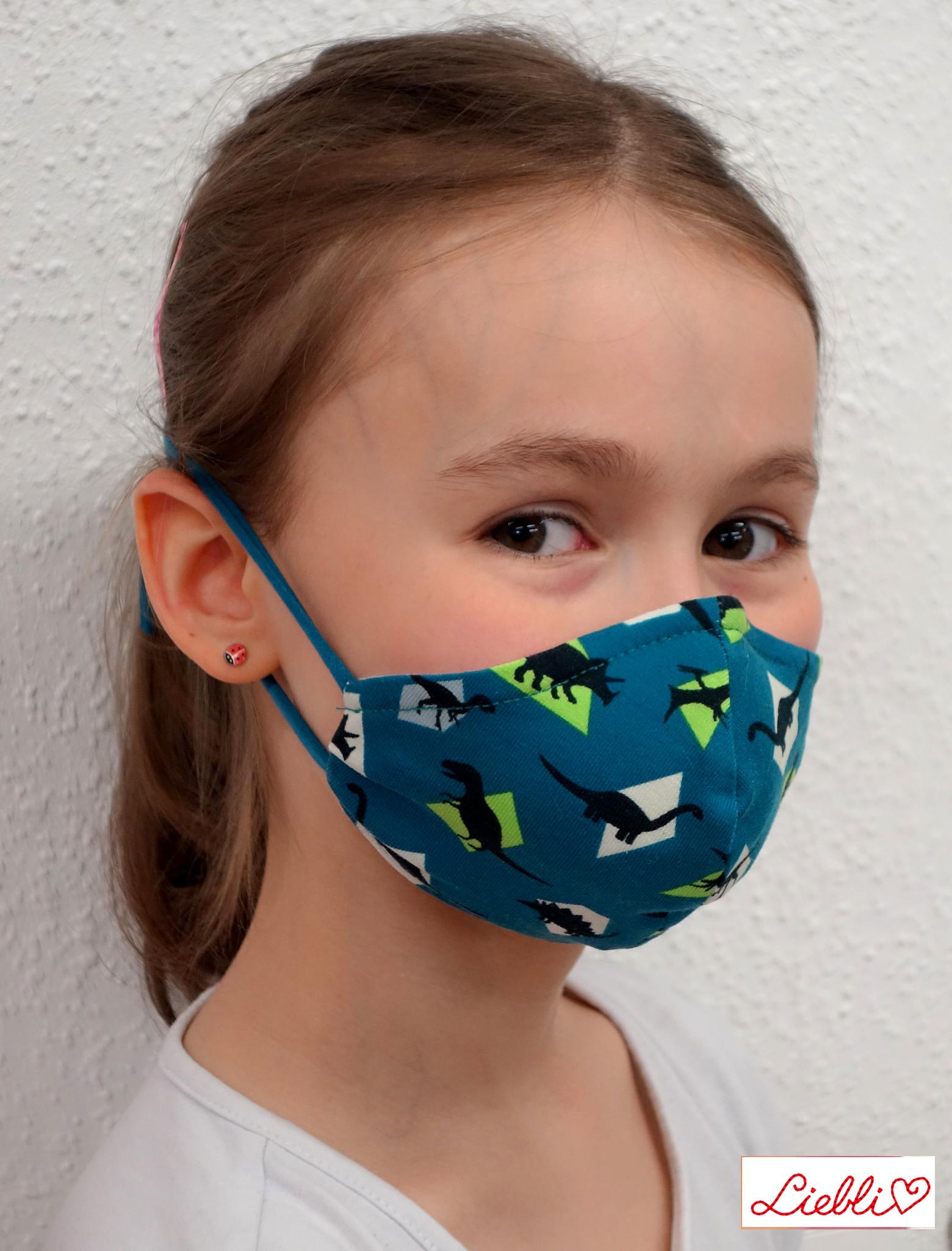 Kindermaske, Kinder Mundschutz, Mund-Nasen-Maske Dino petrol