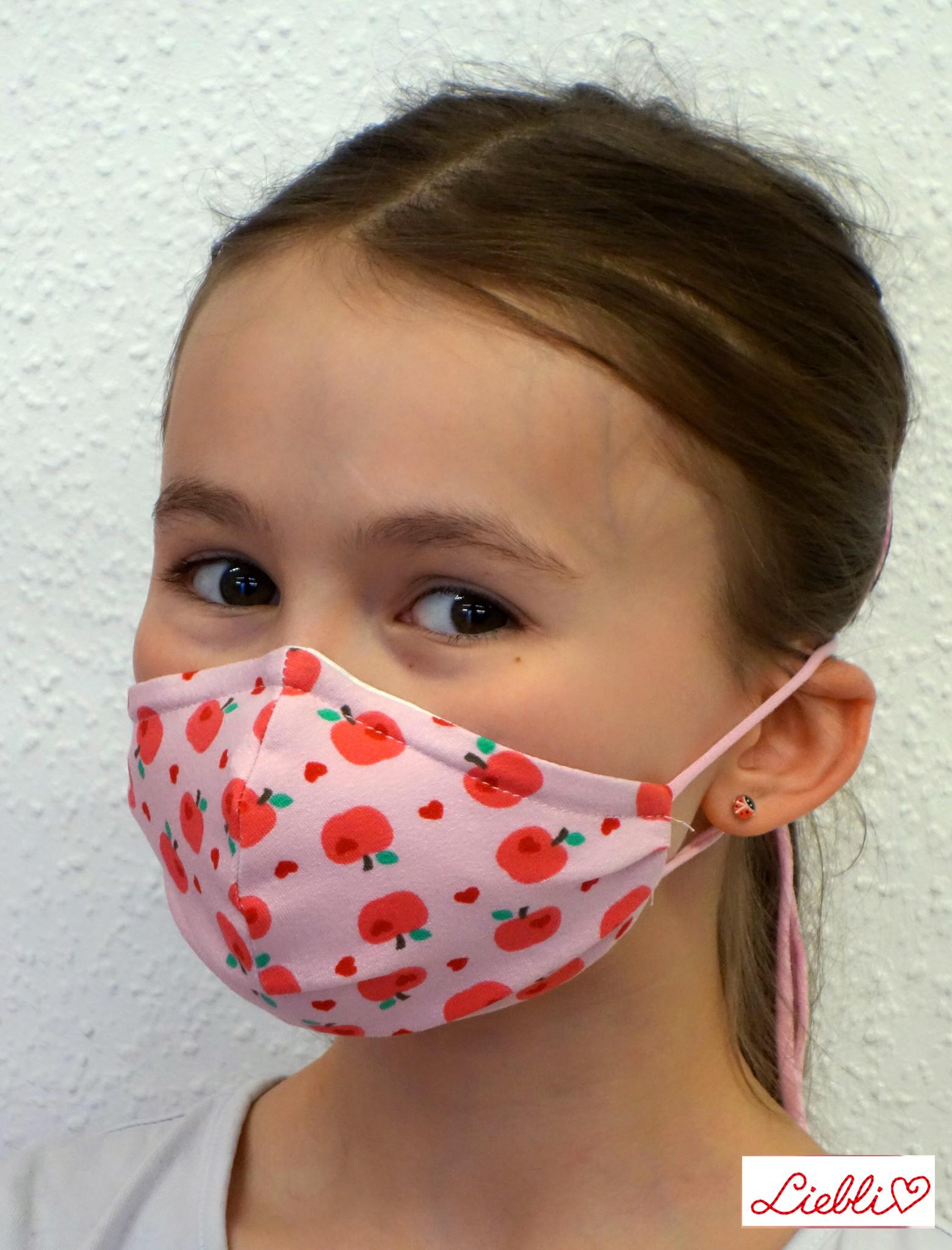 Kindermaske, Kinder Mundschutz, Mund-Nasen-Maske  Apfel rosa