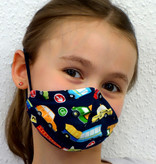 Kindermaske, Kinder Mundschutz, Mund-Nasen-Maske  Autos dunkeblau