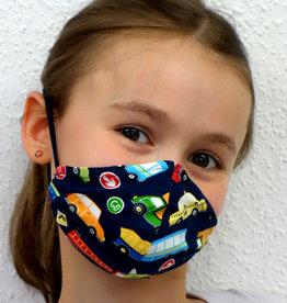 Kindermaske, Stoffmaske, Mund-Maske Autos dunkeblau