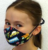 Stoffmaske für Kinder und Erwachsene, Autos dunkeblau