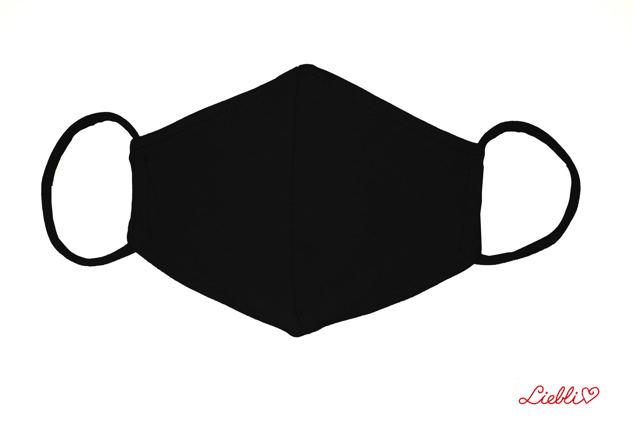 Waschbare, wiederverwendbare Baumwollmaske, Mund-Nasen Maske, schwarz