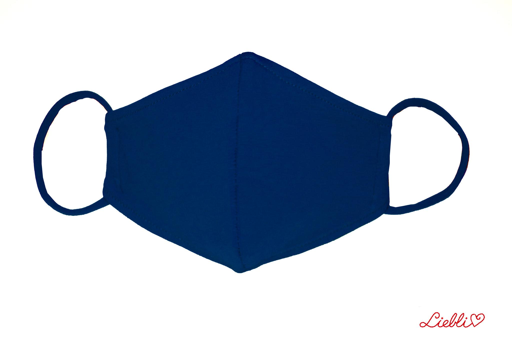 Waschbare, wiederverwendbare Baumwollmaske, Mund-Nasen Maske, dunkelblau