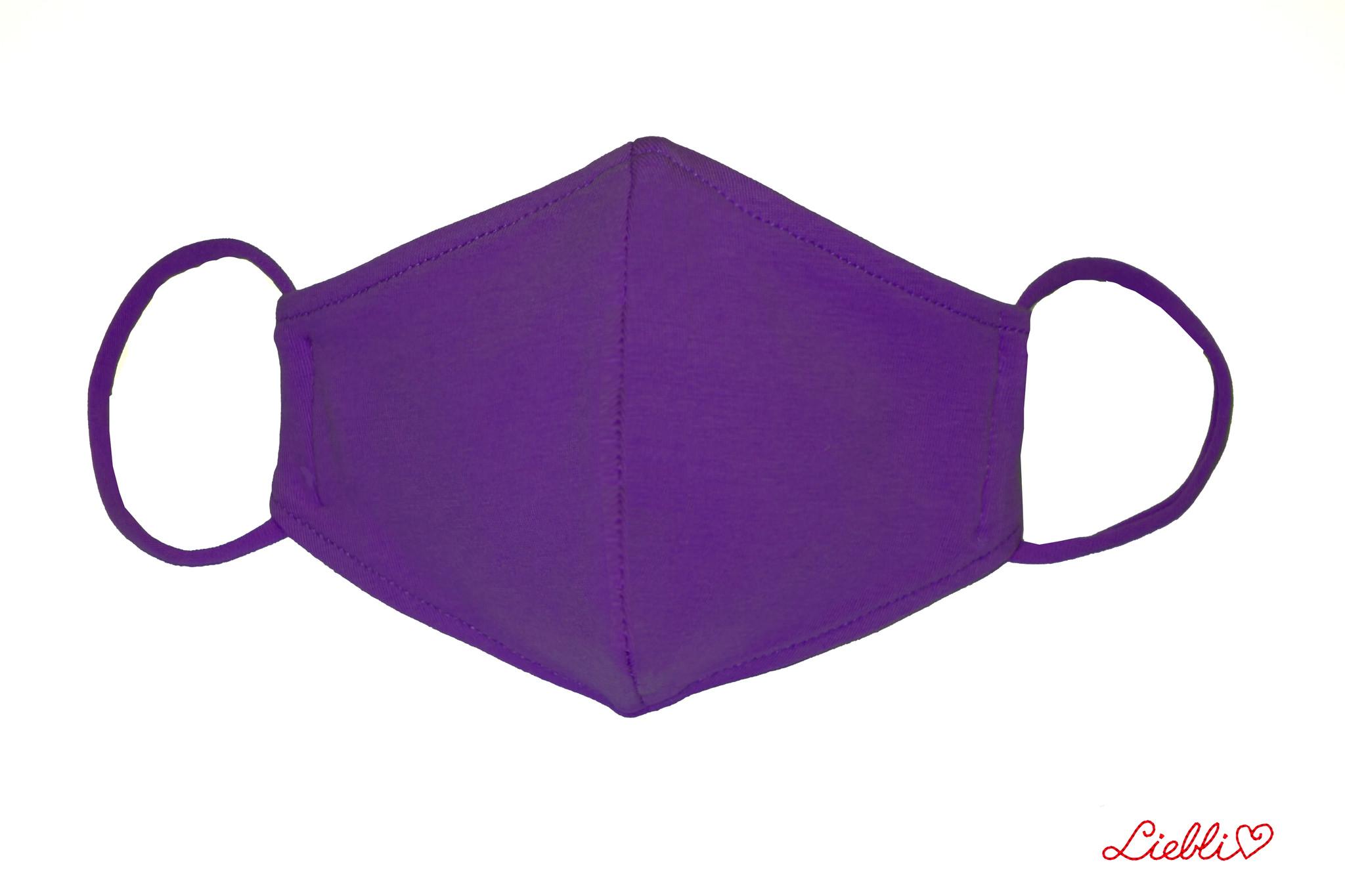 Waschbare, wiederverwendbare Baumwollmaske, Mund-Nasen Maske, lila
