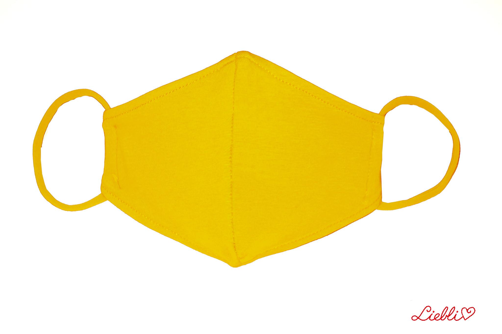 Waschbare, wiederverwendbare Stoffmaske, Mund-Nasen Maske, sonnengelb