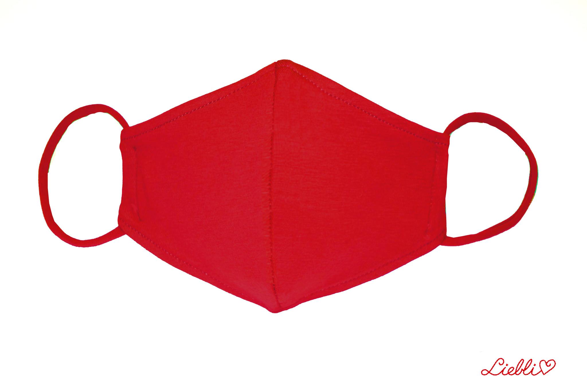 Waschbare, wiederverwendbare Baumwollmaske, Mund-Nasen Maske, rot