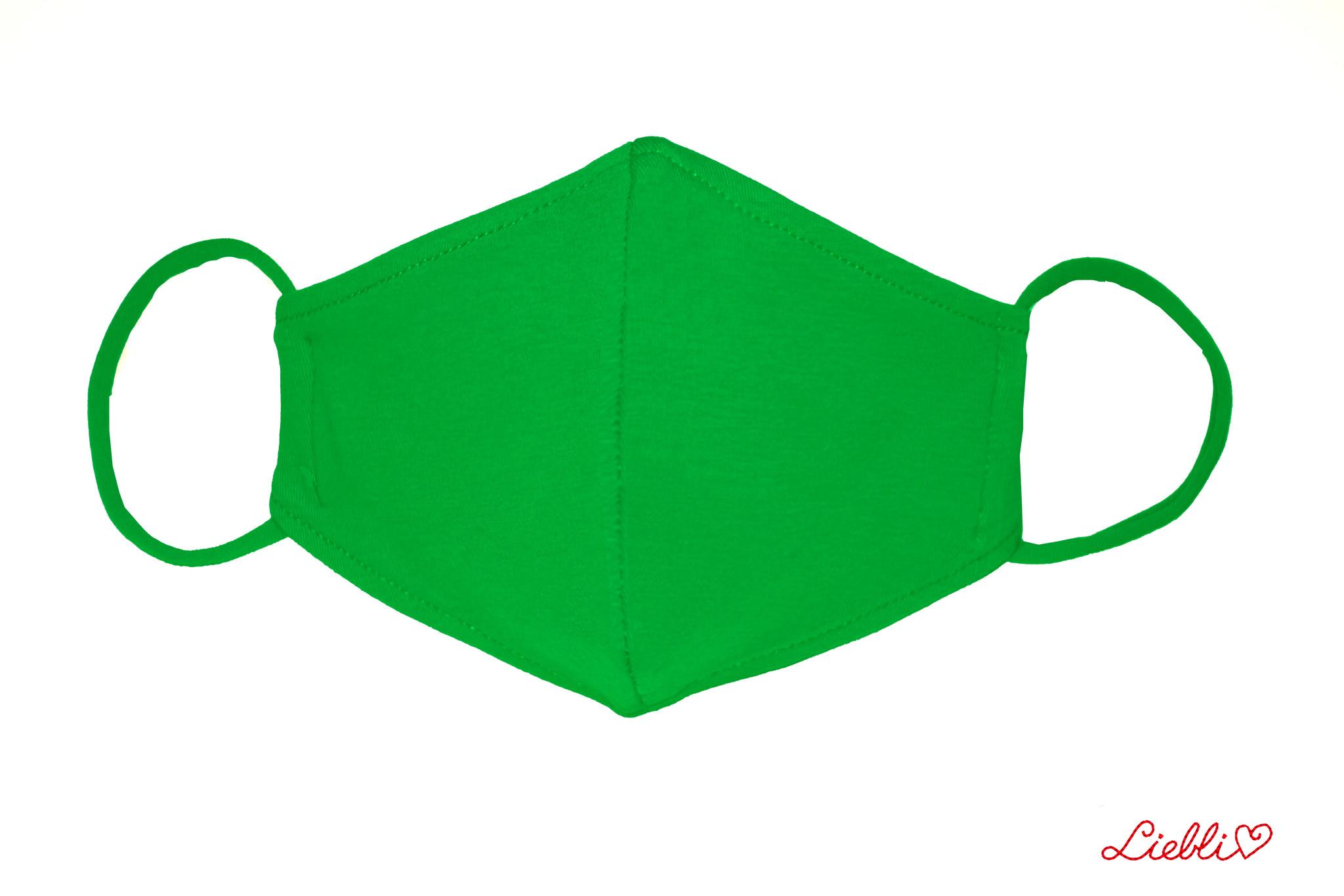 Waschbare, wiederverwendbare Baumwollmaske, Mund-Nasen Maske, grasgrün