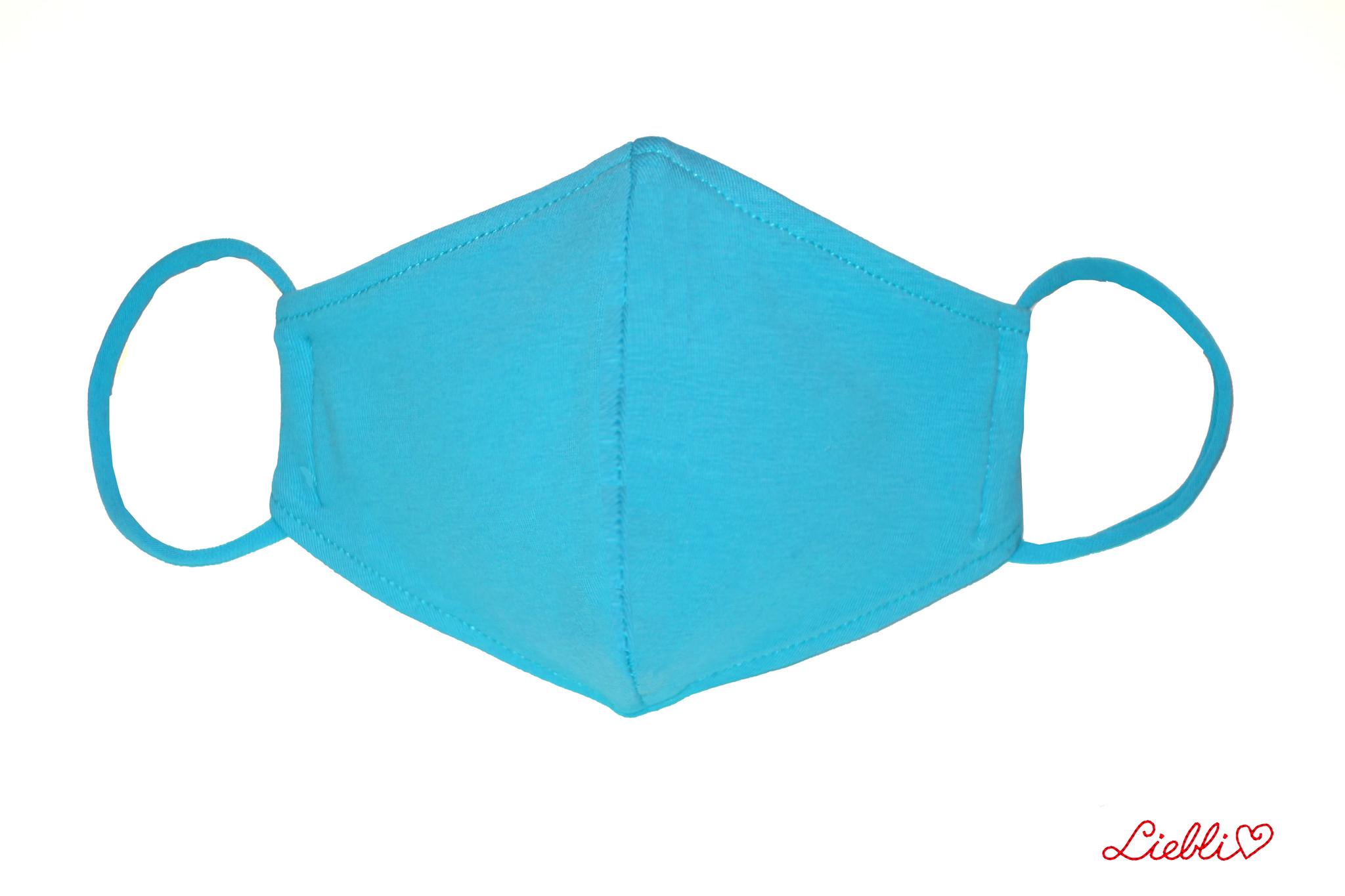 Waschbare, wiederverwendbare Baumwollmaske, Mund-Nasen Maske, türkis