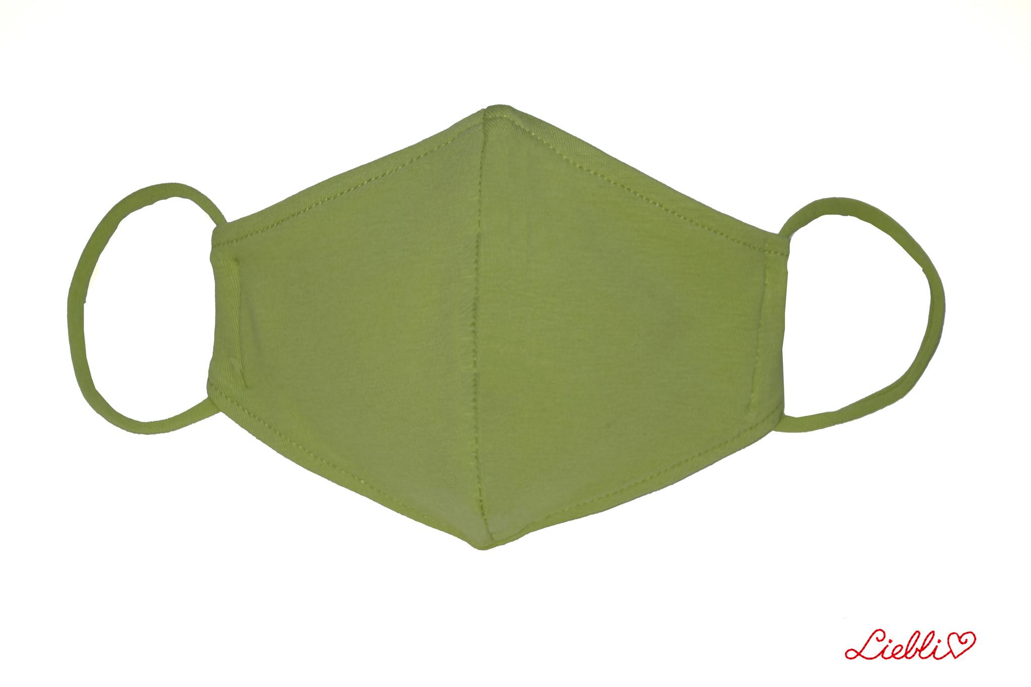 Waschbare, wiederverwendbare Baumwollmaske, Mund-Nasen Maske, olivgrün