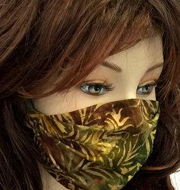 Schöne  Stoffmaske, hübsche Modemaske, Blätter oliv-braun
