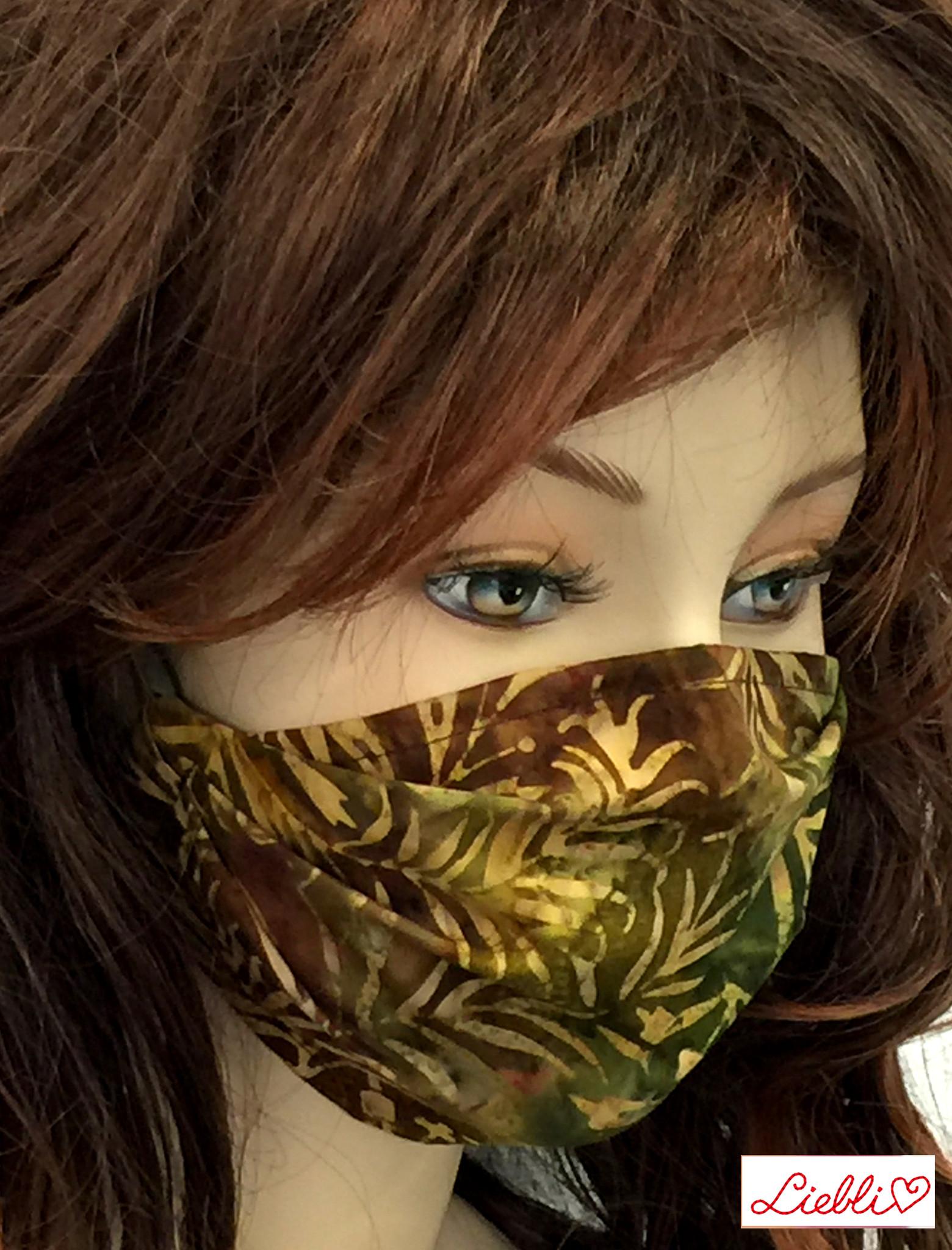 Schöne Stoffmasken/ modische, elegante Masken, Blätter oliv-braun