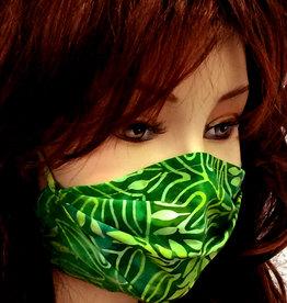 Schöne  Stoffmaske, hübsche Modemaske, Blätter grün