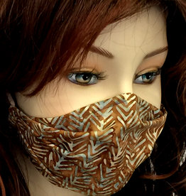 Schöne  Stoffmaske, hübsche Modemaske, Gräten, braun-helltürkis