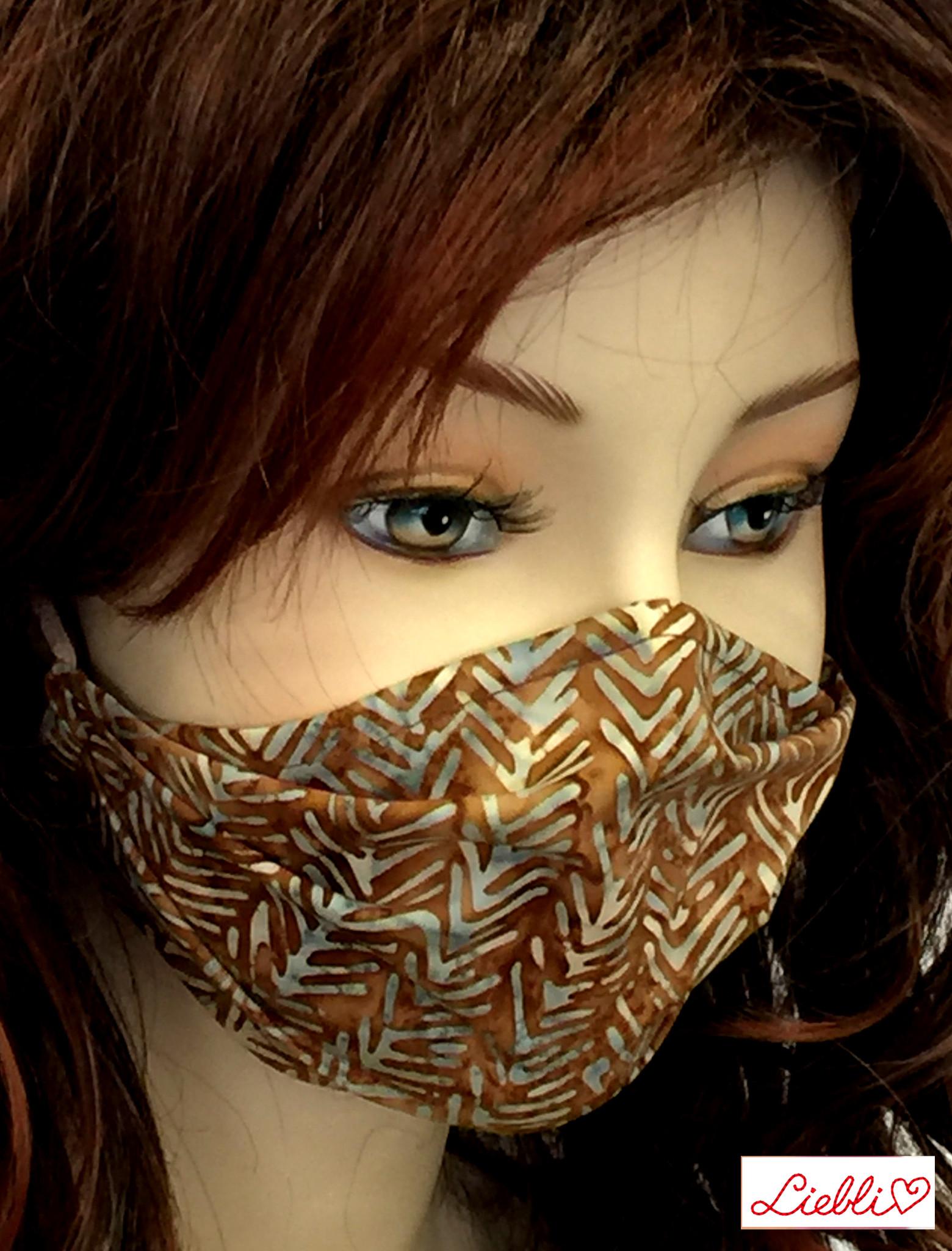 Schöne Stoffmasken/ modische, elegante Masken,  Stoffmaske Gräten, braun-helltürkis