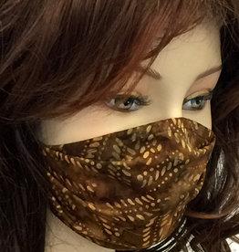 Schöne  Stoffmaske, hübsche Modemaske, Blätter braun