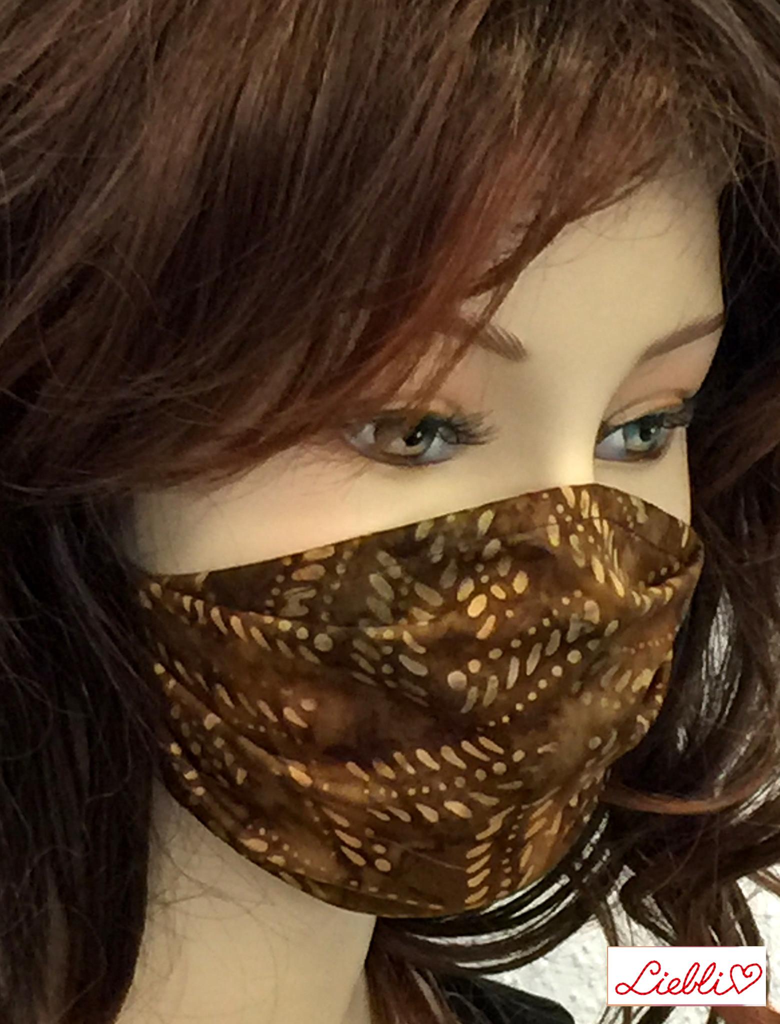 Schöne Stoffmasken/ modische, elegante Masken,  Stoffmaske Blätter braun