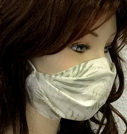 Schöne  Stoffmaske, hübsche Modemaske, Tropenblätter beige
