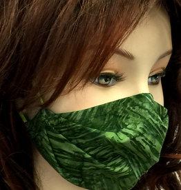 Schöne  Stoffmaske, hübsche Modemaske, Striche grün
