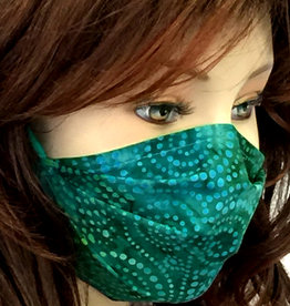 Schöne  Stoffmaske, hübsche Modemaske, Spirale blaugrün
