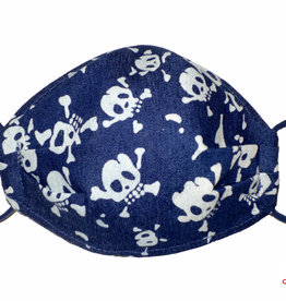 Coole Maske mit Totenkopf, Totenkopf Maske  jeansblau