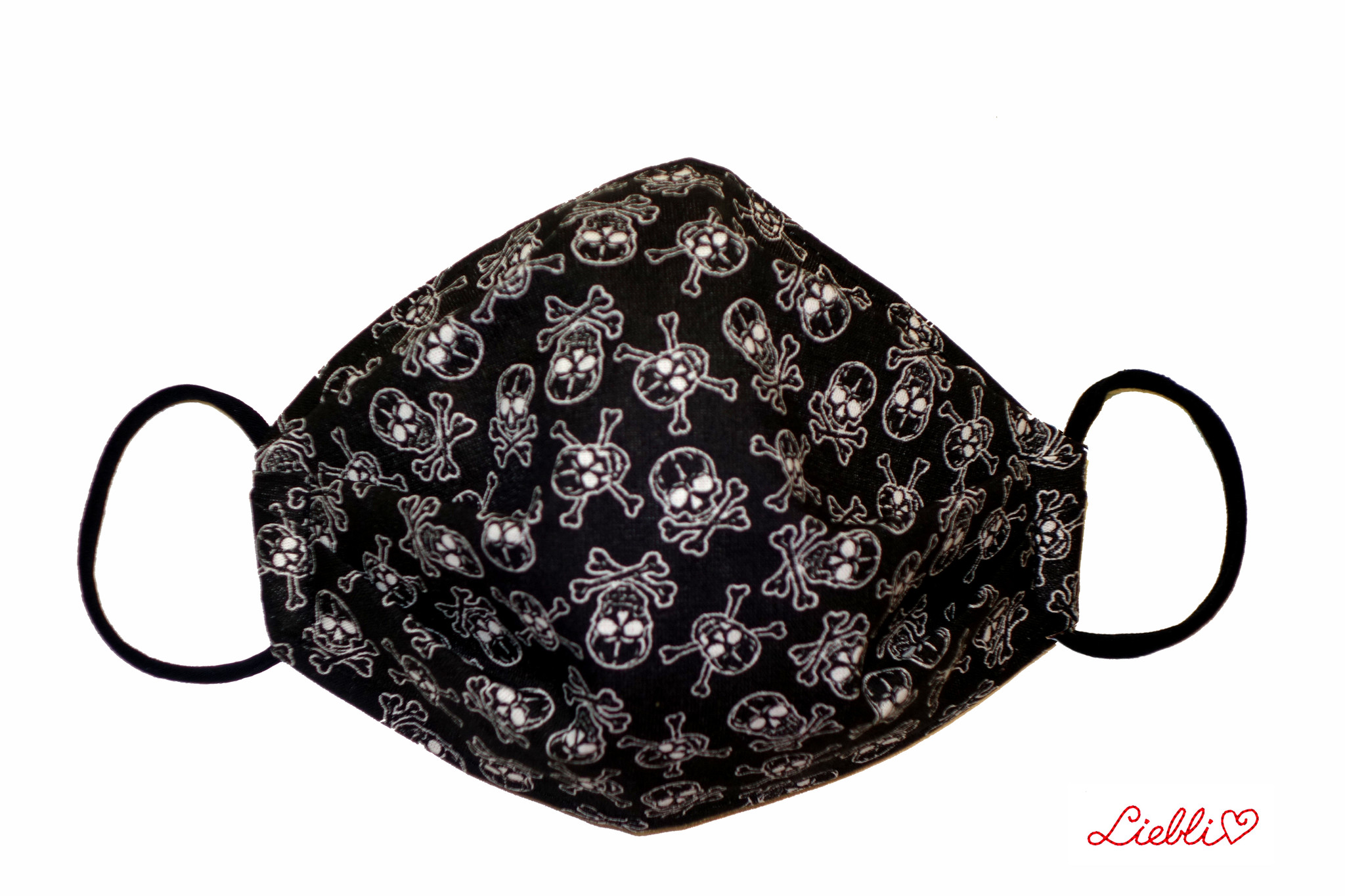 Coole Masken, Stoffmaske mit Totenköpfe, Totenkopf Maske  schwarz