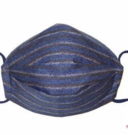 Herrenmasken, Stoffmaske für Herren, dunkelblau, Streifen