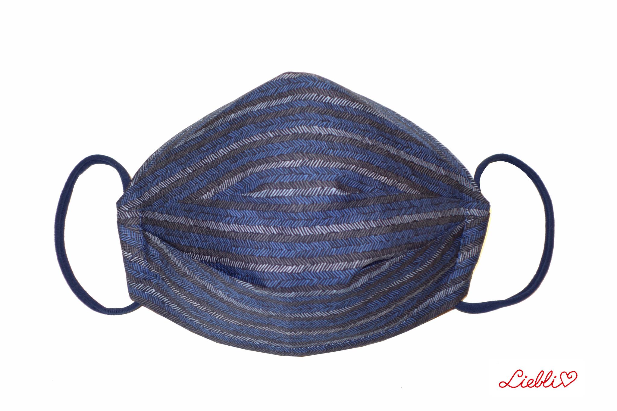 Herrenmaske, Stoffmaske für Herren, dunkelblau,  Streifen