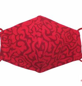 Weiche Jersey Maske - elegante Baumwollmaske mit Rosenmuster, rot