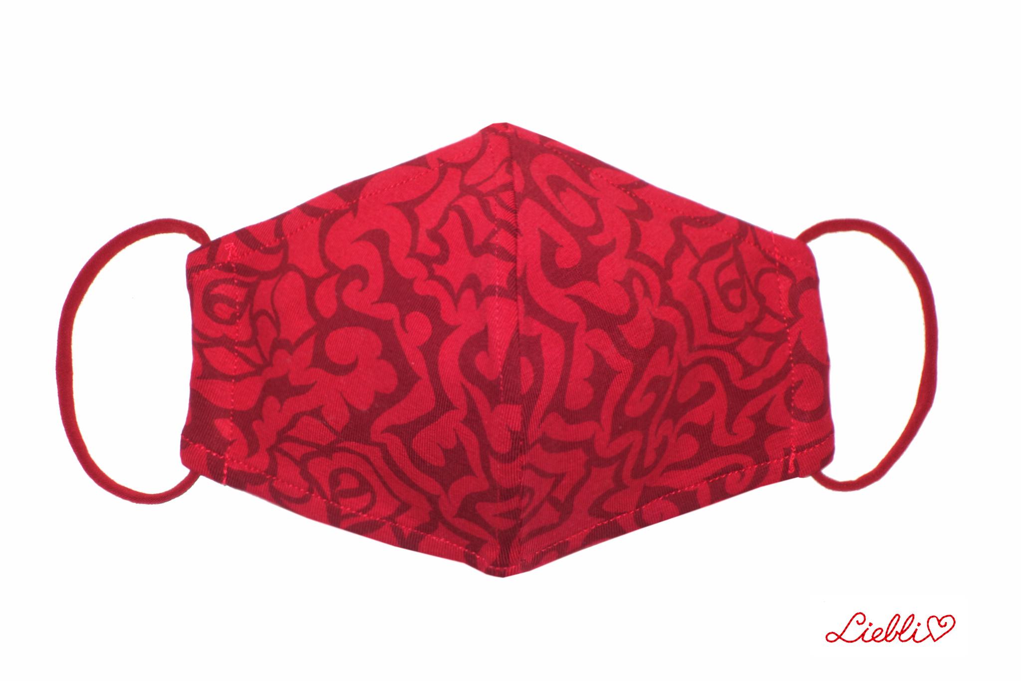 Weiche Jersey Masken - elegante Stoffmaske mit Rosenmuster,  rot