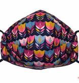 Hübsche Damenmaske, bunte Stoffmaske, Blumen, dunkelblau