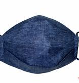 Herrenmaske, Stoffmaske für Herren, jeansblau, kleine Kreise