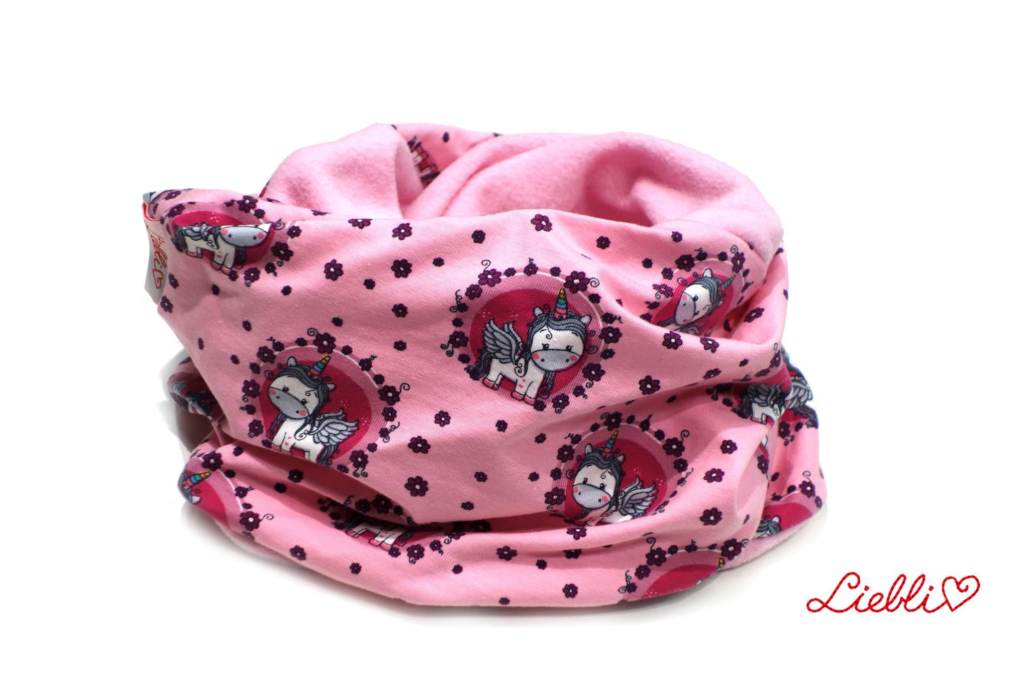 Loopschal warm, Einhörner rosa
