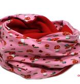 Loopschal warm, Fliegenpilze auf rosa