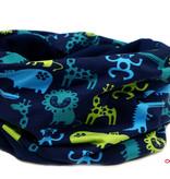 Loopschal warm, Zootiere blau-grün