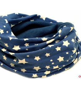 Loopschal warm, weiße Sterne auf jeansblau