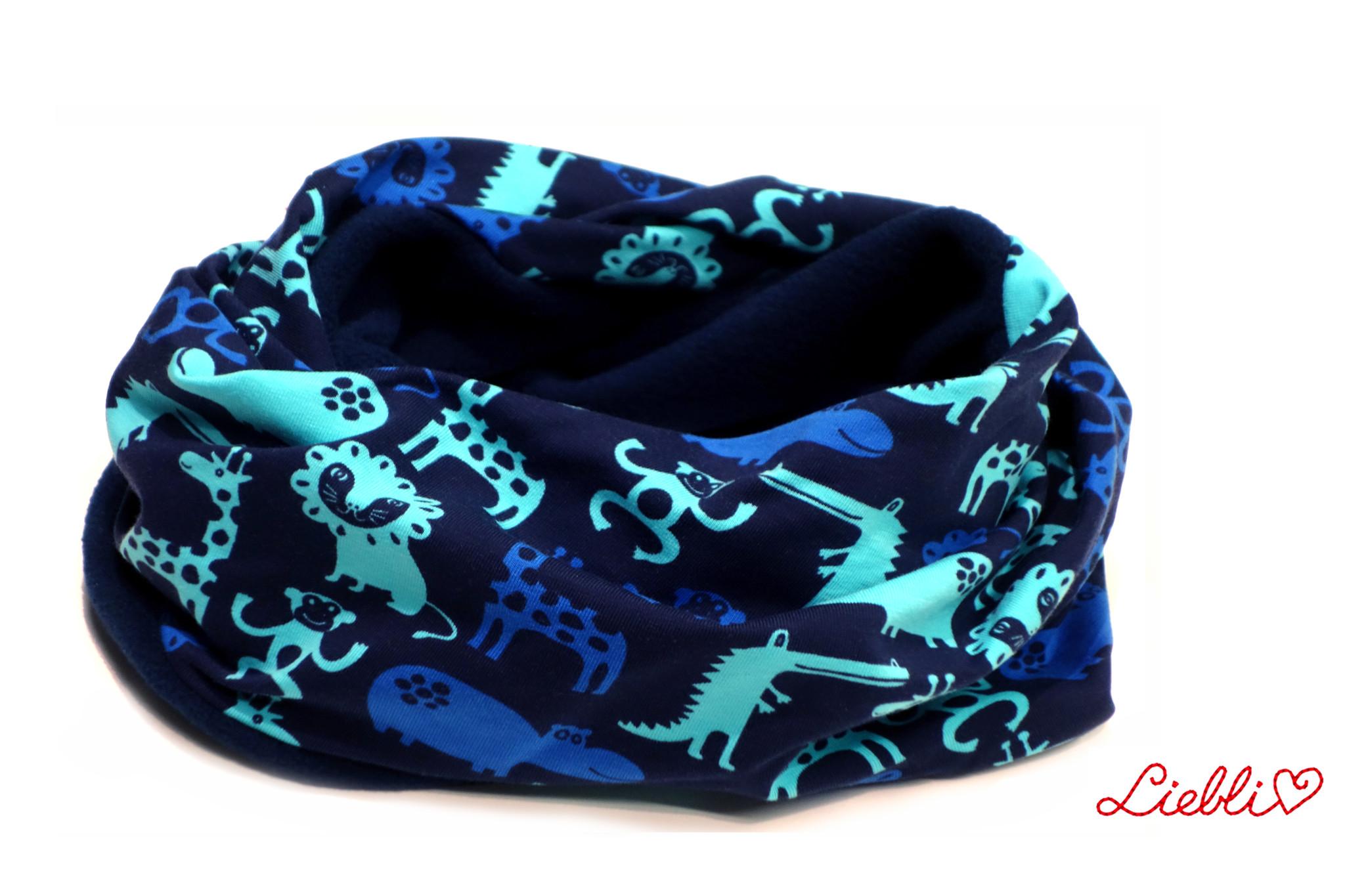 Loopschal warm, Zootiere blau-türkis