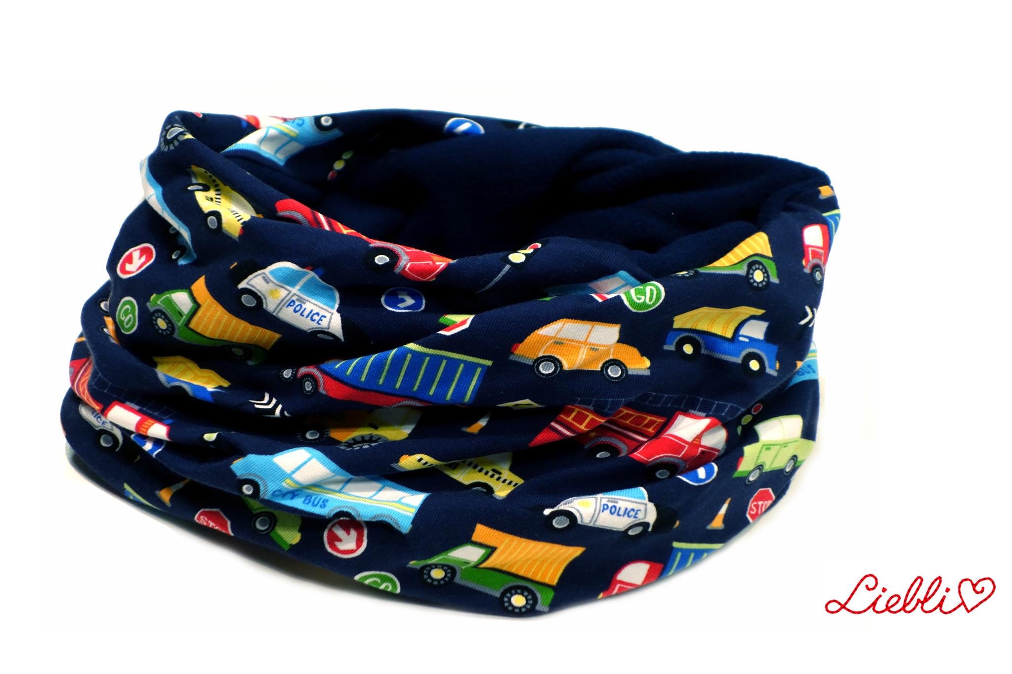 Loopschal warm, bunte Autos auf dunkelblau