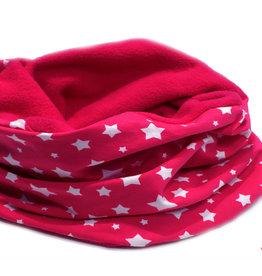 Loopschal warm, weiße Sterne auf pink