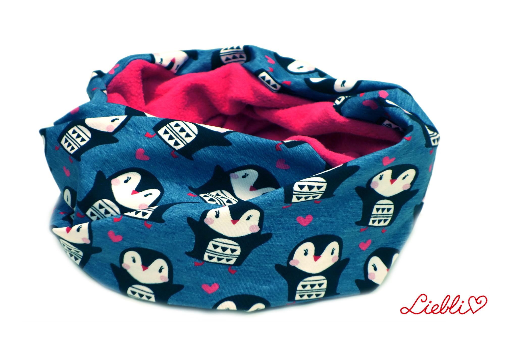 Loopschal warm, Pinguine auf jeansblau