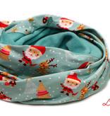 Loopschal warm, Weihnachtsmann und Rentier Rudolph