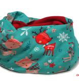 Loopschal warm, süße Rehe / Rentier Rudolph auf mintgrün