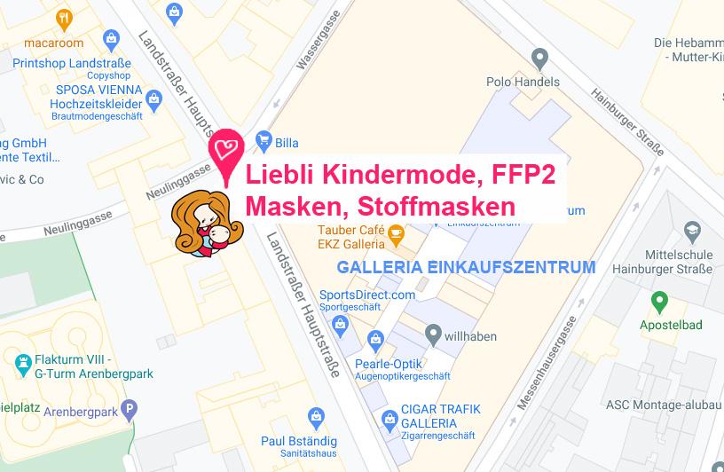 Hinfahrt zu Liebli Kindermode 1030 Wien Kindermode Geschäft Baby Shop und Maskenshop, Babygeschenke, Stoffmasken, FFP2 Masken günstig kaufen