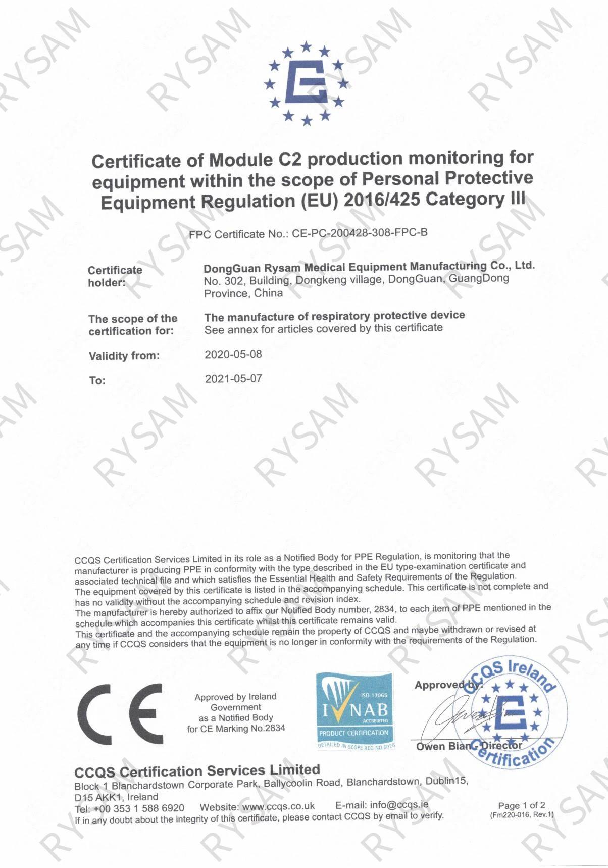 5 Stück CE zertifizierte FFP2 Maske, grün, in PE-Beutel