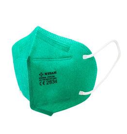 5 Stück sichere FFP2 Maske, grün in PE-Beutel