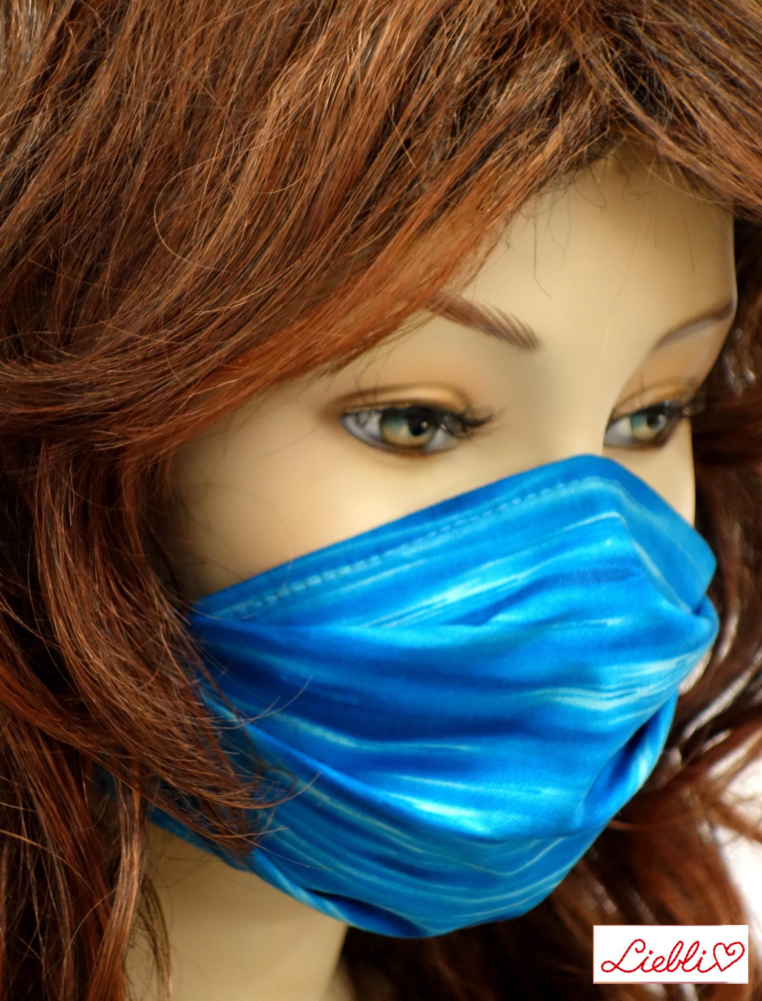 Stoffmaske, Mundschutz, MNS,  Dünne Sommermaske, Ocean, blau
