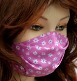 Stoffmaske, Mundschutz, MNS,  Dünne Sommermaske, Blumen auf hellviolett