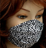 Stoffmaske, Mundschutz, MNS,  Dünne Sommermaske, kleine Blätter schwarz-weiss