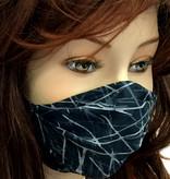 Stoffmaske, Mundschutz, MNS,  Dünne Sommermaske, Streifen schwarz-grau