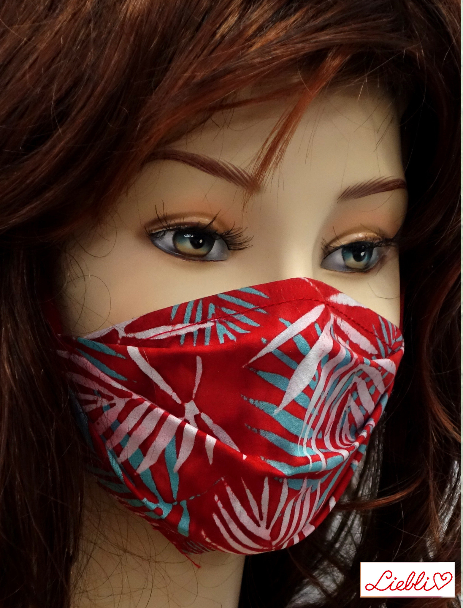 Stoffmaske, Mundschutz, MNS,  Dünne Sommermaske, Tropenblätter rot-blau